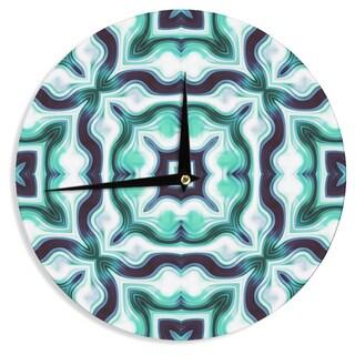KESS InHouse Dawid Roc ' Vintage Flower Pattern 3' Green Abstract Wall Clock