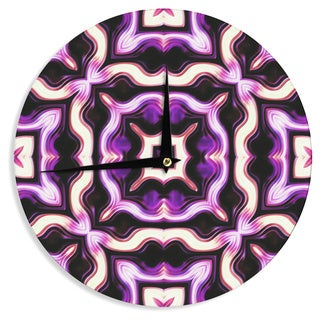 KESS InHouse Dawid Roc 'Vintage Flower Pattern 2' Purple Floral Wall Clock