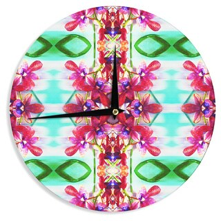 KESS InHouse Dawid Roc 'Tropical Floral Orchids 2' Pink Floral Wall Clock