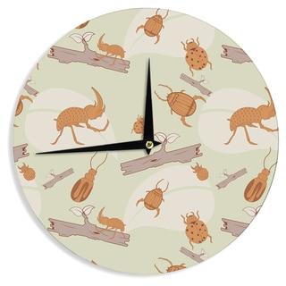 KESS InHouse Stephanie Vaeth 'Beetles' Orange Nature Wall Clock
