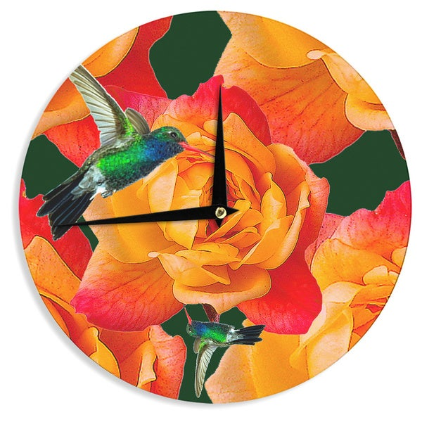 KESS InHouse Shirlei Patricia Muniz 'Roses In Hummingbird' Orange Nature Wall Clock