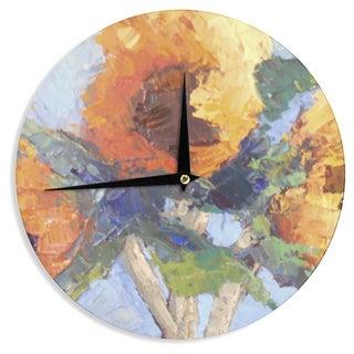 KESS InHouse Carol Schiff 'Sunflower Trio' Yellow Floral Wall Clock