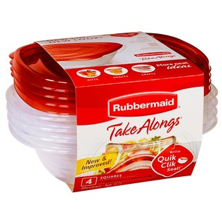 Rubbermaid 1832533 Take Alongs Quik Clik Seal Containers 4-count