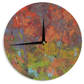 KESS InHouse Jeff Ferst 'Fall Colours' Red Painting Wall Clock