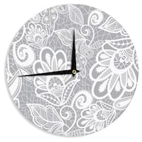 KESS InHouse Petit Griffin 'Lace Flower' Gray White Wall Clock