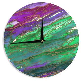 KESS InHouse Ebi Emporium 'Agate Magic - Lime Purple' Green Lavender Wall Clock