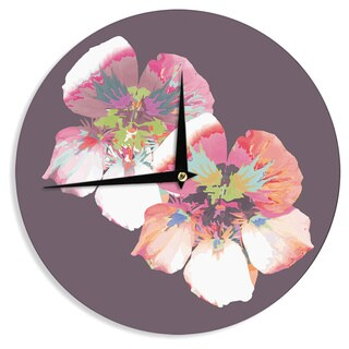 KESS InHouse Love Midge 'Graphic Flower Nasturtium' Lavender Floral Wall Clock