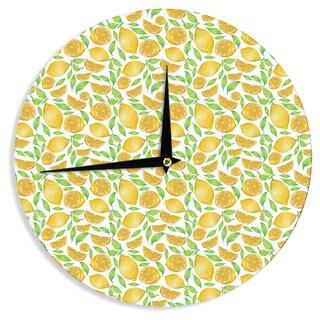 "Kess InHouse Alisa Drukman ""Lemons"" Yellow Floral Wall Clock 12"""