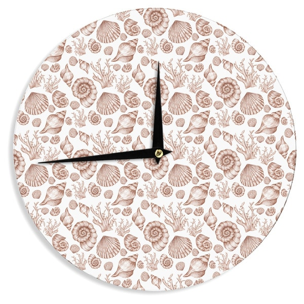 "Kess InHouse Alisa Drukman ""Seashells"" Brown Nature Wall Clock 12"""