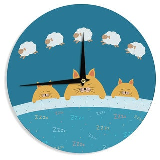 KESS InHouse Cristina bianco Design 'Sleeping Cats Zzzz' Teal Animals Wall Clock