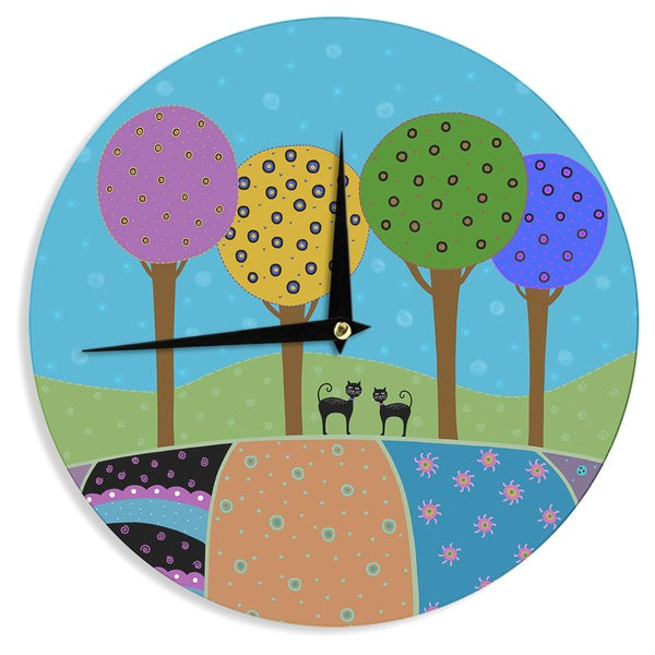 KESS InHouse Cristina bianco Design 'Cats & Colorful Landscape' Pink Illustration Wall Clock