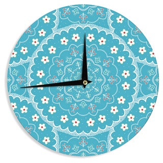 KESS InHouse Cristina bianco Design 'Blue & White Mandala' Blue Floral Wall Clock