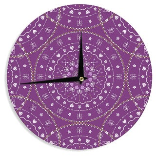 KESS InHouse Cristina bianco Design 'Purple Mandalas' Purple Geometric Wall Clock