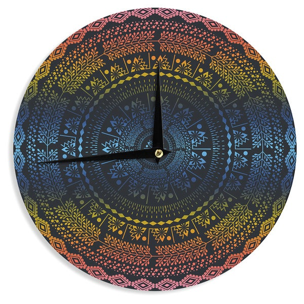 KESS InHouse Famenxt 'Night Queen Boho Mandala' Multicolor Illustration Wall Clock