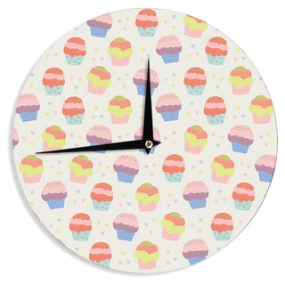 KESS InHouse Cristina bianco Design 'Cupcakes' Yellow Food Wall Clock