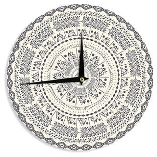 KESS InHouse Famenxt 'Swadesi Soft Boho Mandala' Beige Illustration Wall Clock