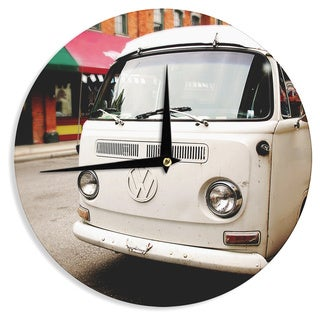 KESS InHouse Angie Turner 'VW Bus' White Vintage Wall Clock