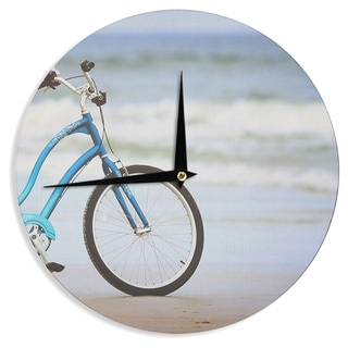 "Kess InHouse Angie Turner ""Beach Bike"" Blue Gray Wall Clock 12"""