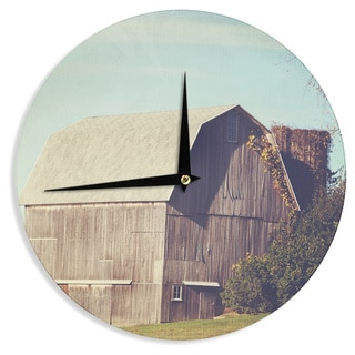 "Kess InHouse Angie Turner ""Gray Barn"" Brown Blue Wall Clock 12"""