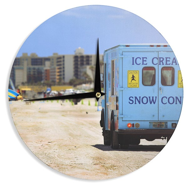 "Kess InHouse Angie Turner ""Ice Cream Truck"" Blue Yellow Wall Clock 12"""