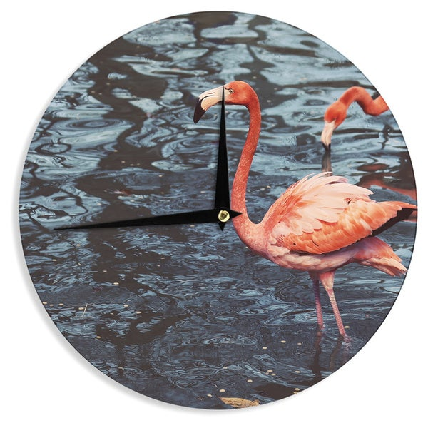 "Kess InHouse Angie Turner ""Pink Flamingo "" Animals Blue Wall Clock 12"""