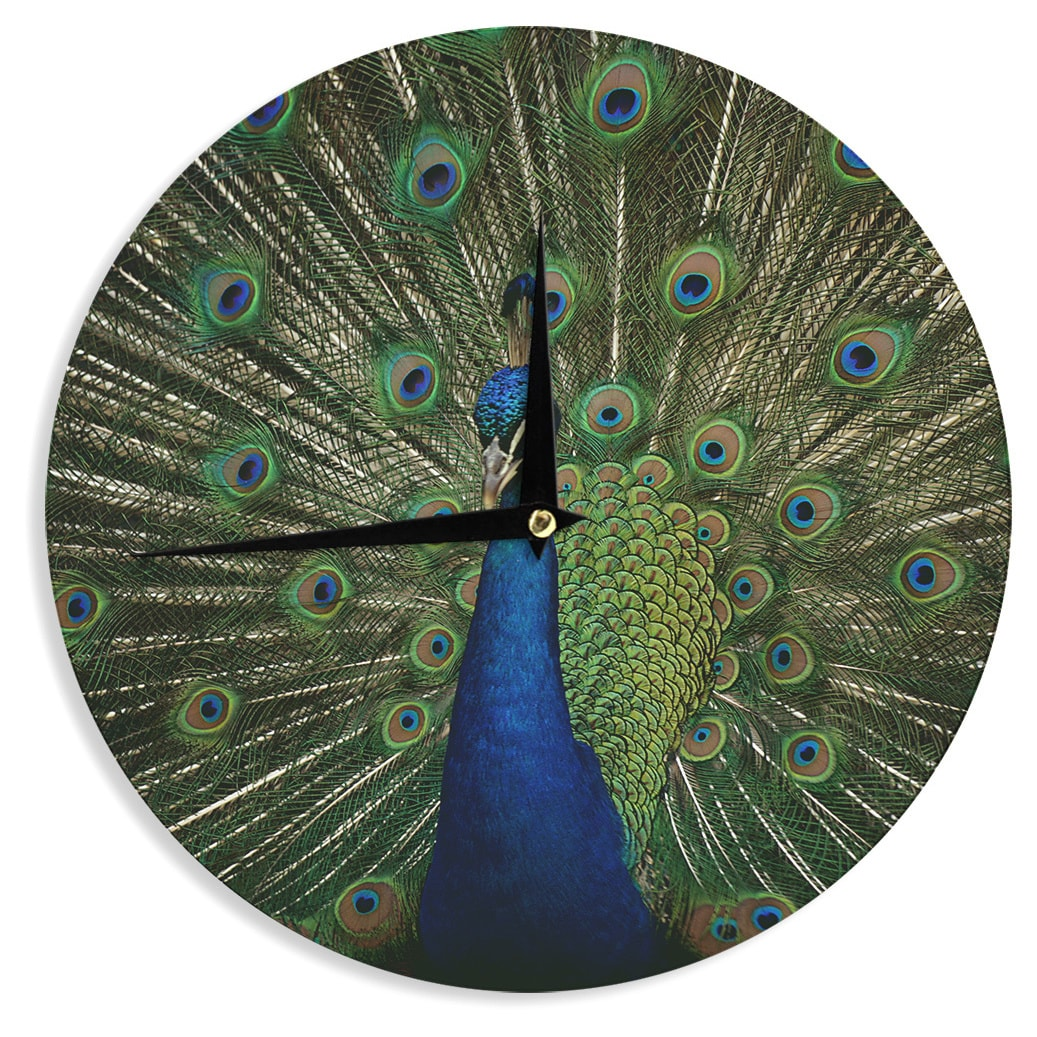 Kess InHouse Angie Turner Proud Peacock Blue Animals Wall Clock 12 (Proud Peacock)