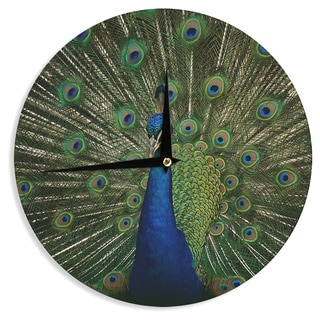 KESS InHouse Angie Turner 'Proud Peacock' Blue Animals Wall Clock