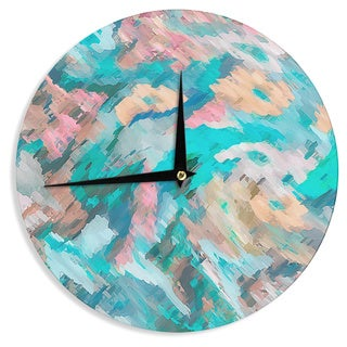 """Kess InHouse Alison Coxon """"Giverny Blue"""" Teal Abstract Wall Clock 12"""""""