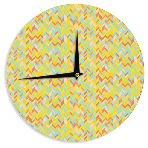 "Kess InHouse Allison Soupcoff ""Chevron Pop "" Yellow Pattern Wall Clock 12"""