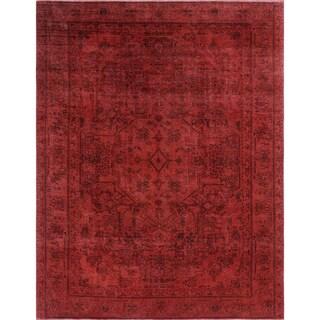 Nursultan Red Wool Distressed Rug (7'10 x 10'4)