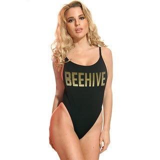 Dippin' Daisy's Women's Black Nylon and Spandex 1-piece Beehive High-cut Vintage Swimsuit