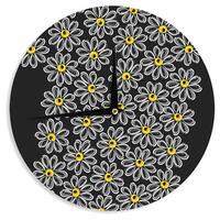 KESS InHouse Maria Bazarova 'Chamomile ' Yellow Floral Wall Clock