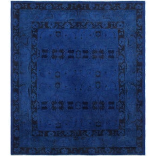 Overdyed Amine Ink Blue Wool Rug (7'10 x 8'10)