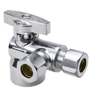 "B And K Industries 195-322HC 5/8"" Od X 3/8"" Od X 3/8"" 1/4 Turn Chrome Plated Brass Angle"