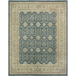 Peshawar Faridoon Blue/Grey Wool Area Rug (9'1 x 12'2)