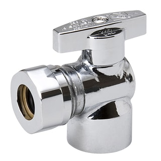 """B And K Industries 190-237HC 1/2"""" Fip X 7/16"""" Chrome Plated Brass 1/4 Angle Turn Valve"""