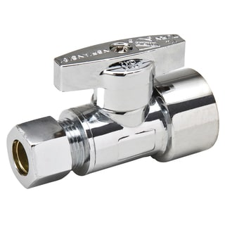 """B And K Industries 190-232HC 1/2"""" Fip X 3/8"""" Comp Chrome Plated Brass 1/4 Angle Turn Valv"""