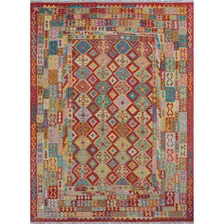 Nawfal Gold/Rust Wool Kilim Area Rug (8'5 x 11'6)