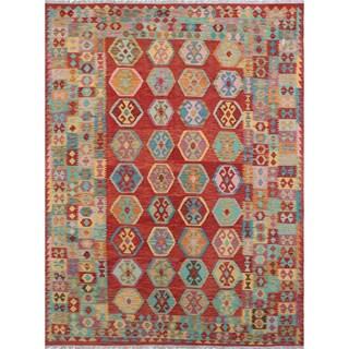 Angra Rust/Multicolor Wool Kilim Rug (8'5 x 11'4)