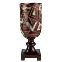 Gold and Brown Polyresin 19.75-inch Mosaic Decorative Vase