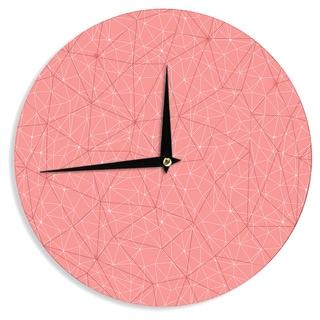 KESS InHouse Michelle Drew 'Wanderlust Pink Skies' Coral Geometric Wall Clock