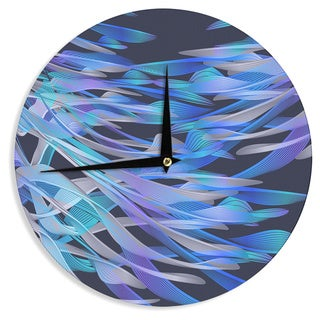 "Kess InHouse Angelo Cerantola ""Tropical Electric Blue"" Purple Abstract Wall Clock 12"""