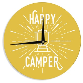 KESS InHouse Jackie Rose 'Happy Camper' Yellow Typography Wall Clock