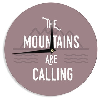 KESS InHouse Jackie Rose 'The Mountains Are Calling' Purple Typography Wall Clock
