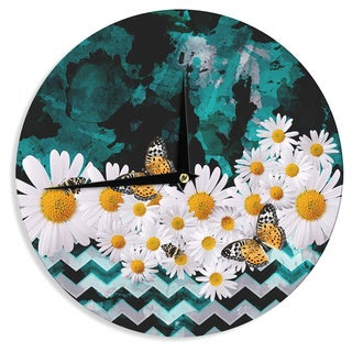 KESS InHouse Shirlei Patricia Muniz 'Secret Garden' Yellow Floral Wall Clock