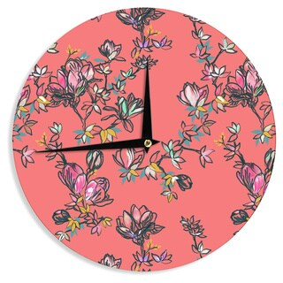 KESS InHouse Victoria Krupp 'Global Patchwork' Coral Digital Wall Clock