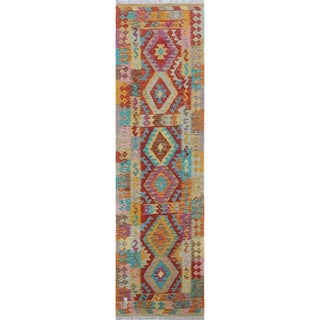 Nawfal Light Brown Wool Kilim Runner Rug (2'9 x 9'4)