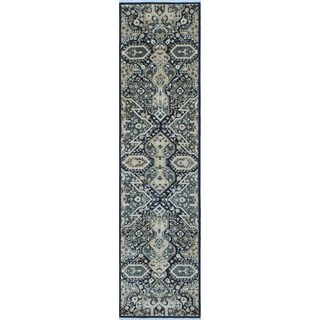 Peshawar Omar Dark Blue/Ivory Wool Hand-knotted Oriental Rug (3'0 x 11'7)