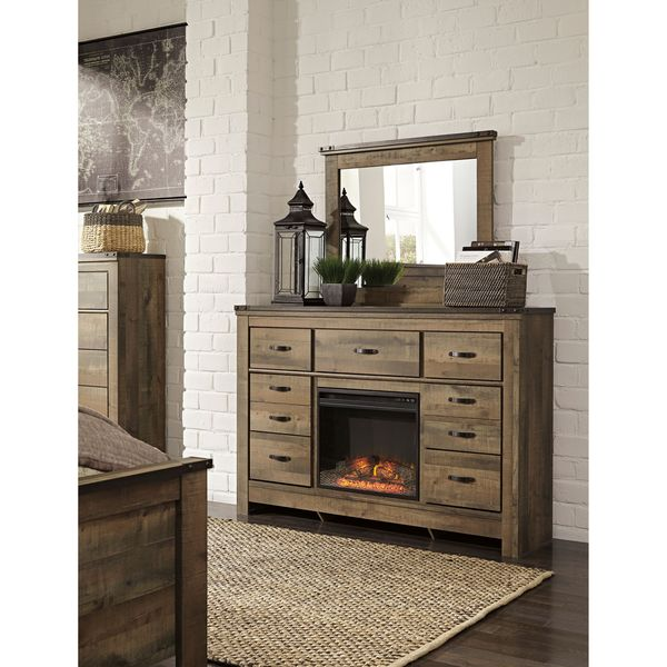 Signature Design by Ashley Trinell Brown Dresser with Fireplace