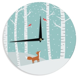 KESS InHouse Cristina bianco Design 'Fox Cardinals Winter' Blue Kids Wall Clock